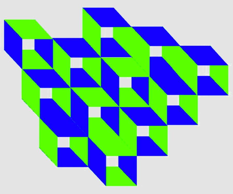 Kastengefüge - blau-grün