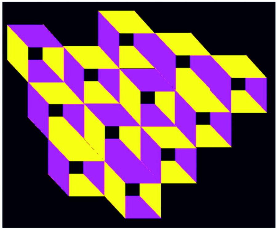 Kastengefüge - invers - gelb-lila