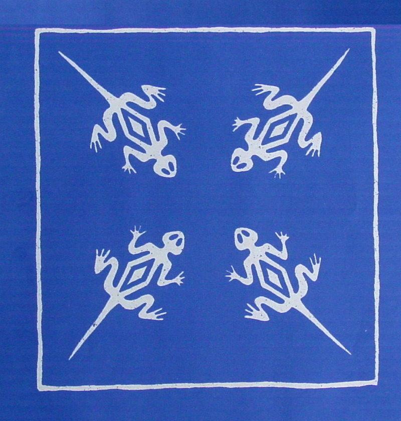 Geckos - weiß auf blau