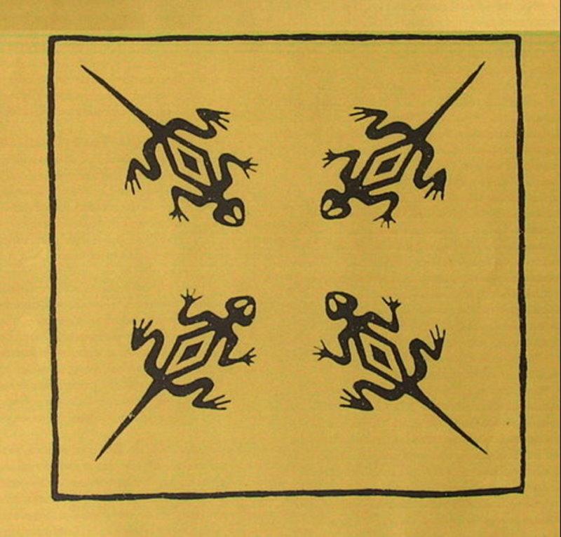 Geckos invers - schwarz auf gelb