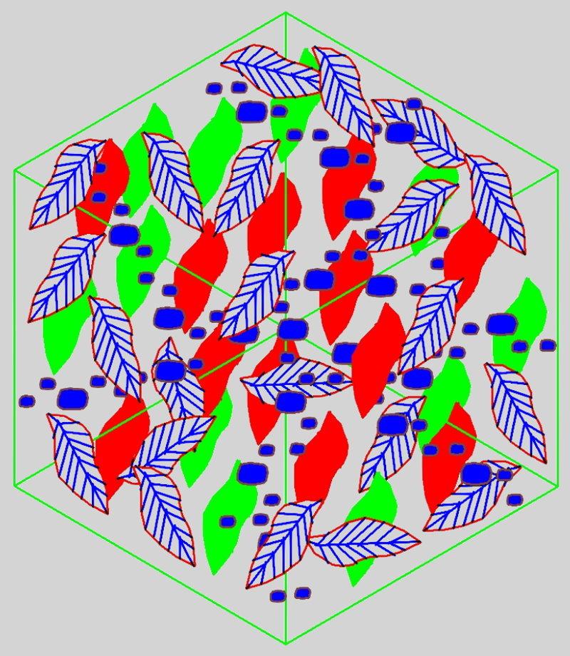Blattkomposition - rot-blau-grün